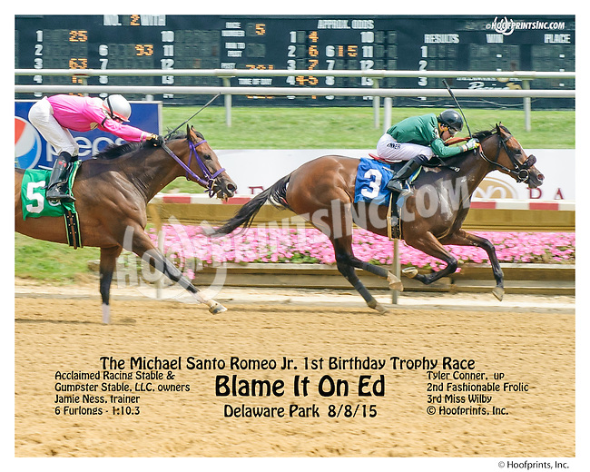 Blame It On Ed winning at Delaware Park on 8/8/15