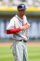 Potomac Nationals manager Brian Rupp #41 gives the signs from the third base coaches box during the game against the Winston-Salem Dash at BB&T Ballpark on April 25, 2012 in Winston-Salem, North Carolina.  The Dash defeated the Nationals 14-0.  (Brian Westerholt/Four Seam Images)