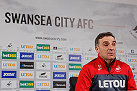 Manager Carlos Carvalhal speaks to reporters during the Swansea City Press Conference at The Fairwood Training Ground, Swansea, Wales, UK. Thursday 08 March 2018