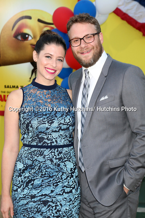 "LOS ANGELES - AUG 9:  Lauren Miller, Seth Rogen at the ""Sausage Party"" Premiere at the Village Theater on August 9, 2016 in Westwood, CA"