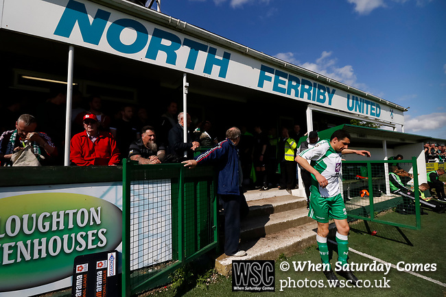 Danny Clarke of North Ferriby leaps back onto the pitch for the second half. Vanarama National League North, Promotion Final, North Ferriby United v AFC Fylde, 14th May 2016.