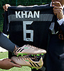 Sadiq Khan, Mayor launches Thrive LDN to challenge mental health stigma and improve care<br /> 4th July 2017<br /> at <br /> The Unity of Faiths Foundation (TUFF) FC football pitches at Stepney Green Park Astroturf, London, Great Britain <br /> <br /> The mayor was presented with some football boots &amp; t-shirt with his name on.<br />  <br /> The Mayor will visit TUFF FC (The Unity of Faiths Foundation) to launch Thrive LDN. TUFF FC is a football-based education project, designed to support youth integration and improve the mental well-being of young people. By bringing together children of different faiths and backgrounds, TUFF FC aims to combat issues such as drug addiction, extremism, isolation, gang involvement and knife crime early to prevent young people from developing poor mental health.<br /> <br /> <br /> Photograph by Elliott Franks <br /> Image licensed to Elliott Franks Photography Services