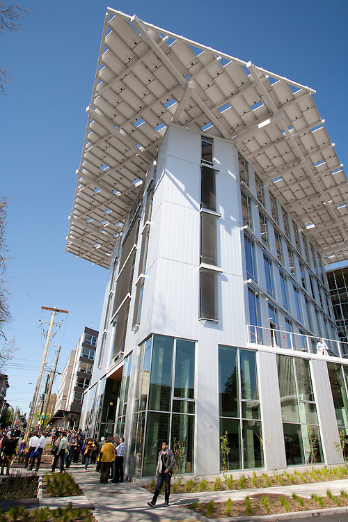 Seattle, The Bullitt Center, grand opening on Earth Day of the greenest office building in world, The Bullitt Foundation,  Pacific Northwest, Washington State, USA,