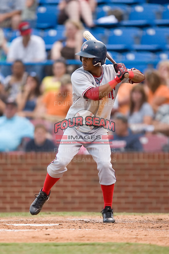 Michael Martinez (3) of the Potomac Nationals at bat at Ernie Shore Field in Winston-Salem, NC, Saturday August 9, 2008. (Photo by Brian Westerholt / Four Seam Images)
