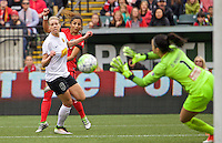 Portland, OR - Sunday Oct. 02, 2016: Nadia Nadim, Alanna Kennedy, Sabrina D'Angelo during a National Women's Soccer League (NWSL) semi-finals match between the Portland Thorns FC and the Western New York Flash at Providence Park.