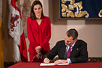 Queen Letizia of Spain and King Felipe VI of Spain attends to Institutional act in commemoration of the capitulations of Valladolid, during the V Centar of the Expedition of the first round of the World of Fernando de Magallanes and Juan Sebastian Elcano in Valladolid , Spain. March 21, 2018. (ALTERPHOTOS/Borja B.Hojas)