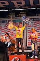 Australian Mick Fanning on the podium finishing first at the Quiksilver Pro in Hossegor in France.