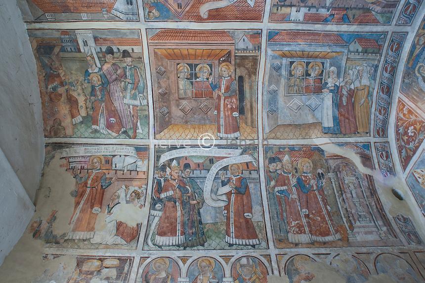 France, Alpes-Maritimes (06), Venanson, chapelle Saint-Sébastien appelé aussi chapelle Sainte-Claire, les fresques // France, Alpes Maritimes, Venanson, chapel St. Sebastien also called chapel St. Claire, the frescoes