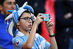 A Manchester City fan before the start of the premier league match at the Wembley Stadium, London. Picture date 14th April 2018. Picture credit should read: Robin Parker/Sportimage