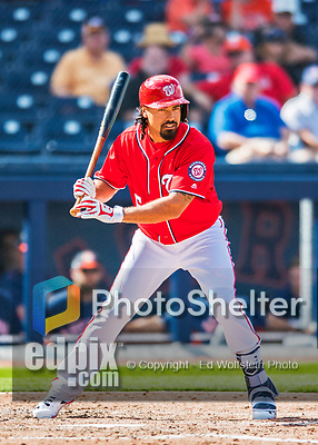 28 February 2017: Washington Nationals infielder Anthony Rendon in Spring Training action during the inaugural game against the Houston Astros at the Ballpark of the Palm Beaches in West Palm Beach, Florida. The Nationals defeated the Astros 4-3 in Grapefruit League play. Mandatory Credit: Ed Wolfstein Photo *** RAW (NEF) Image File Available ***