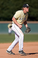 Third baseman Allan Dykstra (10) of the Wake Forest Demon Deacons on defense versus the Clemson Tigers during the second game of a double header at Gene Hooks Stadium in Winston-Salem, NC, Sunday, March 9, 2008.
