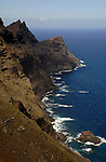 Rugged Canarian mountain pass on the west coast of Gran Canarian, Mogan to Agate road. Gran Canaria, Canary Islands, Spain.