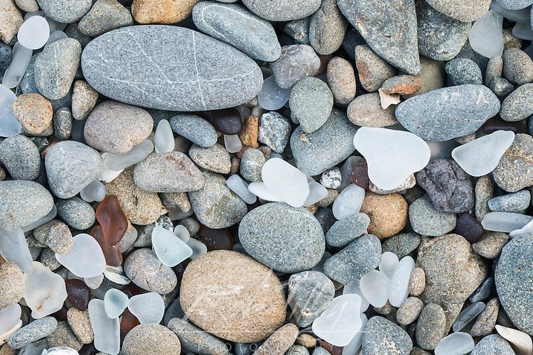 USA, CA, Ft. Bragg, Closeup of Glass Beach Pebbles