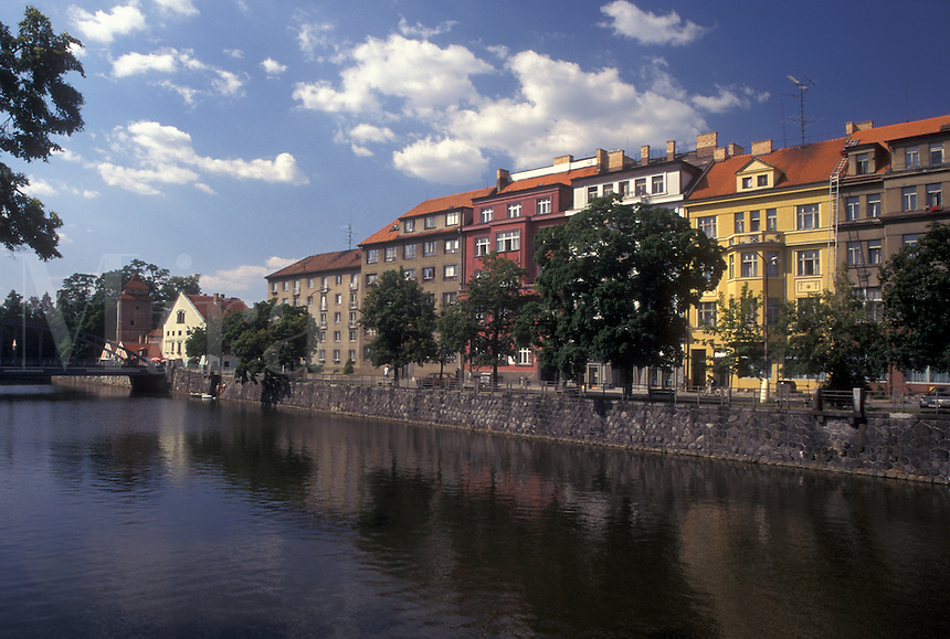 Czech Republic, Ceske Budejovice, Budweis, Southern Bohemia, Canal along the town of Budweis.