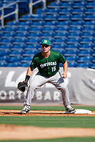 Daytona Tortugas first baseman James Vasquez (15) during the first game of a doubleheader against the Clearwater Threshers on July 25, 2017 at Spectrum Field in Clearwater, Florida.  Daytona defeated Clearwater 4-1.  (Mike Janes/Four Seam Images)