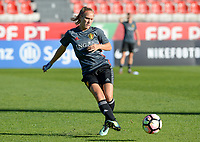20171023 - PENAFIEL , PORTUGAL :  Belgian Janice Cayman pictured during the matchday -1 training session of the Belgian national women's soccer team Red Flames prior to the game against the women's team of Portugal , on monday 23 October 2017 at Estádio Municipal 25 de Abril in Penafiel. The Red Flames are playing their third game in the Worldcup 2019 France qualification against Portugal. PHOTO SPORTPIX.BE | DAVID CATRY