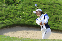 Jin Young Ko (KOR) chips from a bunker at the 5th green during Friday's Round 2 of The Evian Championship 2018, held at the Evian Resort Golf Club, Evian-les-Bains, France. 14th September 2018.<br /> Picture: Eoin Clarke | Golffile<br /> <br /> <br /> All photos usage must carry mandatory copyright credit (&copy; Golffile | Eoin Clarke)
