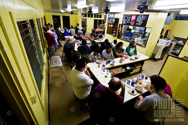 Locals eating at Hamura's Saimin eatery in Lihue Kauai