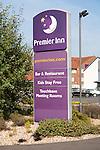 Premier Inn hotel sign, Lydiard Fields business park, Swindon, England, UK