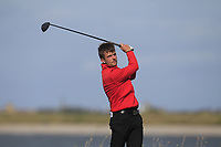 Tom Williams from Wales on the 10th tee during Round 2 Singles of the Men's Home Internationals 2018 at Conwy Golf Club, Conwy, Wales on Thursday 13th September 2018.<br /> Picture: Thos Caffrey / Golffile<br /> <br /> All photo usage must carry mandatory copyright credit (&copy; Golffile | Thos Caffrey)