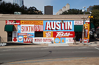 Welcome to Historic Sixth Street is a famous mural located at 6th Street and I-35 frontage road, Austin, Texas.