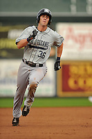 Ed Lucas $36 of the New Orleans Zephyrs runs to third base against the Iowa Cubs at Principal Park on July  24, 2014 in Des Moines, Iowa. The Cubs won 11-2.   (Dennis Hubbard/Four Seam Images)