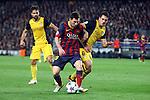 UEFA Champions League 2013/2014.<br /> Quarter-finals 1st leg.<br /> FC Barcelona vs Club Atletico de Madrid: 1-1.<br /> Diego, Messi &amp; Koke.