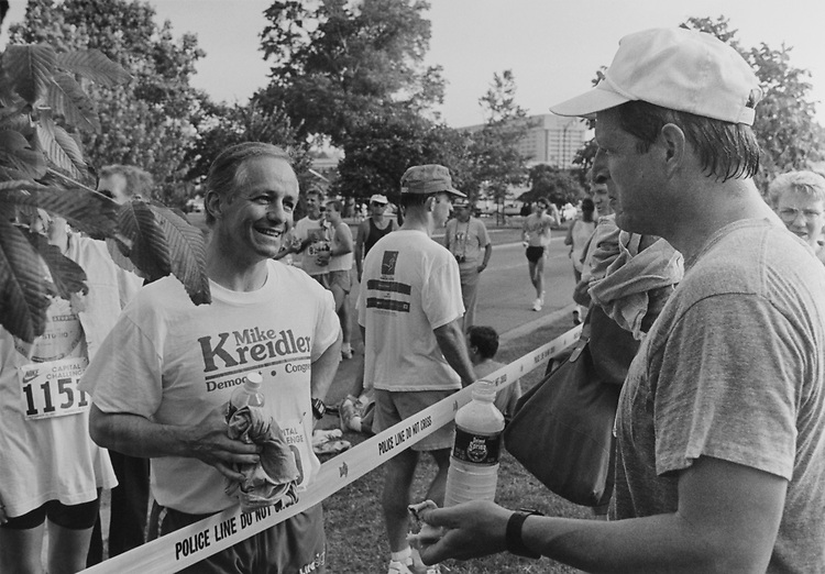 Rep. Mike Kreidler, D-Wash. relaxing with Vice President Al Gore after Nike Capitol Challenge on Sept. 15, 1993. (Photo by Chris Martin/CQ Roll Call)