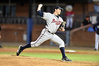 Rome Braves pitcher Tyler Brosius #48 delivers a pitch during a game against the Asheville Tourists at McCormick Field on May 1, 2014 in Asheville, North Carolina. The Tourists defeated the Braves 8-7. (Tony Farlow/Four Seam Images)