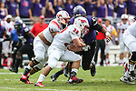 Southern Methodist Mustangs running back Prescott Line (29) in action during the game between the SMU Mustangs and the TCU Horned Frogs at the Amon G. Carter Stadium in Fort Worth, Texas. TCU defeats SMU 48 to 17.
