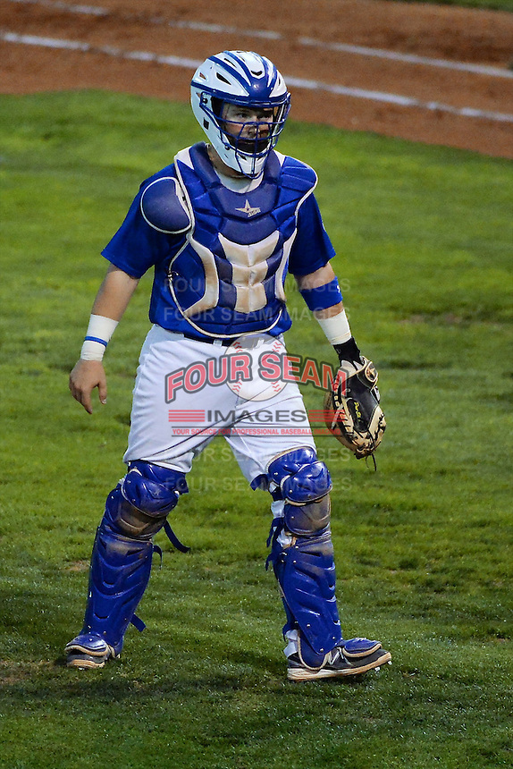 Austin Cowen (15) of the Ogden Raptors walks back from the mound in action against the Orem Owlz in Pioneer League play at Lindquist Field on August 28, 2013 in Ogden Utah.  (Stephen Smith/Four Seam Images)
