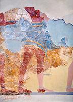 The Minoan 'Procession Fresco' close up , wall art from the South Prpylaeum, Knossos Palace, 1500-1400 BC . Heraklion Archaeological Museum.<br /> <br /> This latrge Minoan fresco of many figure in procession would have decorated the corridor between the West Porch and the South Propylaeum of Knossos Palace. Both sides of the corridor were painted with hundreds of male and femal;e figures carrying precious utensils and vessels, probably depicting gift bearers to the ruler of the Palace. The composition is much like those found in the Palaces and tombs of Egypt and the near east at the time. Neopalatial final period.