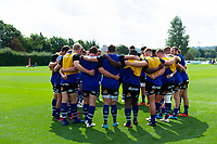 The Bath United team huddle together during the pre-match warm-up. Premiership Rugby Shield match, between Bristol Bears A and Bath United on August 31, 2018 at the Cribbs Causeway Ground in Bristol, England. Photo by: Patrick Khachfe / Onside Images