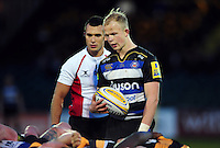 Will Homer of Bath United looks to put the ball into a scrum. Aviva A-League match, between Bath United and Wasps A on December 28, 2016 at the Recreation Ground in Bath, England. Photo by: Patrick Khachfe / Onside Images