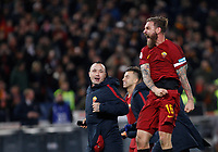 Roma's Radja Nainggolan, left, and Daniele De Rossi celebrate at the end of the Italian Serie A football match between Roma and Lazio at Rome's Olympic stadium, 18 November 2017. Roma won 2-1.<br /> UPDATE IMAGES PRESS/Riccardo De Luca