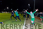 Brendan Falvey and the Killarney Celtic bench run to celebrate the final whistle Jamesboro in the FAI cup quarter final in Celtic Park on Saturday night