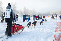 Anna Stephan leaves the start line at Knik during the start of the Junior Iditarod on Saturday February 25, 2017. <br /> <br /> <br /> Photo by Jeff Schultz/SchultzPhoto.com  (C) 2017  ALL RIGHTS RESVERVED