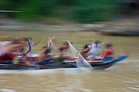 Life on the Tonle Sap a childrens boat race,Cambodia