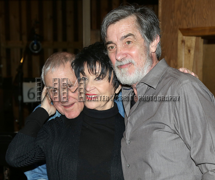 John Kander, Chita Rivera and Roger Rees during the Original Broadway Cast Recording of 'The Visit' at Avatar Recording Studio on April 27, 2015 in New York City.