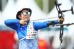 Tomomi Sugimoto (JPN), <br /> AUGUST 27, 2018 - Archery : <br /> Recurve Mixed Team Final <br /> at Gelora Bung Karno Archery Field <br /> during the 2018 Jakarta Palembang Asian Games <br /> in Jakarta, Indonesia. <br /> (Photo by Naoki Morita/AFLO SPORT)