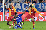 06.11.2018, Veltins-Arena, Gelsenkirchen, GER, CL, FC Schalke 04 vs Galatasaray Istanbul, DFL regulations prohibit any use of photographs as image sequences and/or quasi-video <br /> <br /> im Bild v. li. im Zweikampf Papa NDiaye (#17, Galatasaray) Breel Embolo (#36, FC Schalke 04) Ozan Kabak (#43, Galatasaray) <br /> <br /> Foto &copy; nordphoto/Mauelshagen