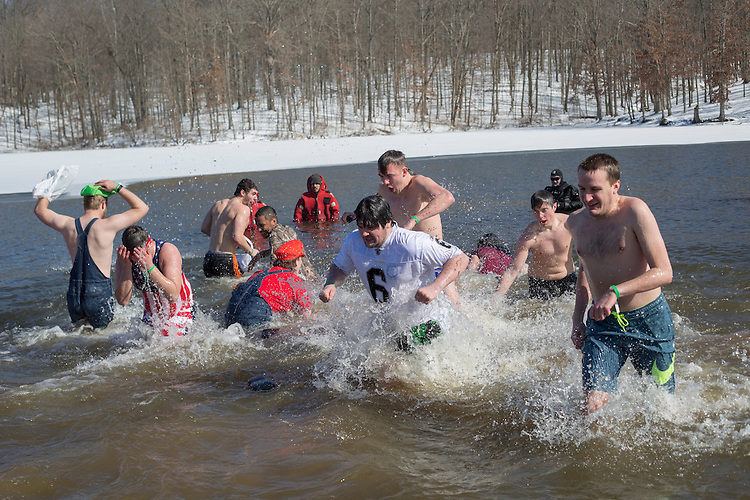 Phi Kappa Theta brothers participate in the Polar Plunge on February 13, 2016 at Lake Snowden. Photo by Emily Matthews