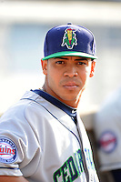 Cedar Rapids Kernels pitcher Josue Montanez #48 before a game against the Beloit Snappers on May 22, 2013 at Pohlman Field in Beloit, Wisconsin.  Beloit defeated Cedar Rapids 7-6.  (Mike Janes/Four Seam Images)