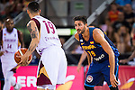 Spain's basketball player Ricky Rubio and Venezuela's basketball player Heissler Guillent during the  match of the preparation for the Rio Olympic Game at Madrid Arena. July 23, 2016. (ALTERPHOTOS/BorjaB.Hojas)