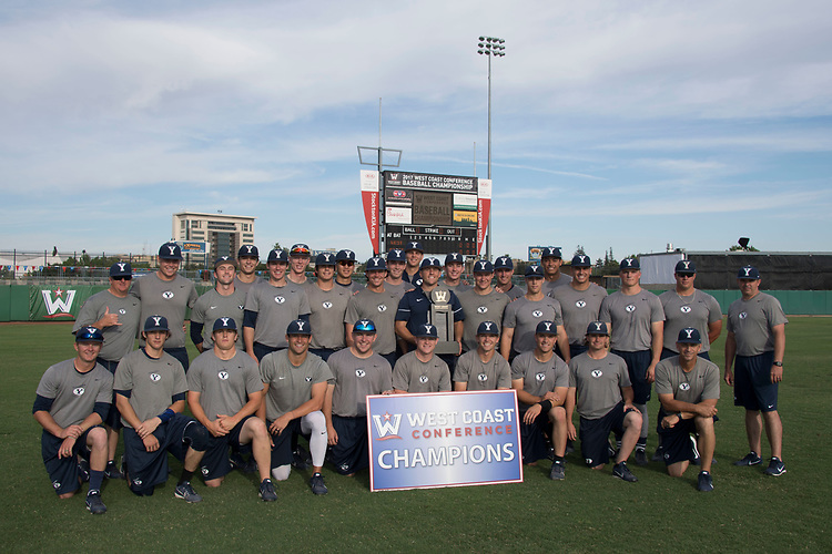 May 24, 2017; Stockton, CA, USA; BYU Cougars during the WCC Baseball Championship at Banner Island Ballpark.