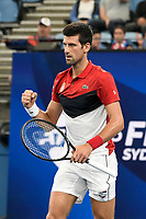 11th January 2020; Sydney Olympic Park Tennis Centre, Sydney, New South Wales, Australia; ATP Cup Australia, Sydney, Day 9; Serbia versus Russia;  Novak Djokovic versus Daniil Medvedev; Novak Djokovic of Serbia reacts after winning a point in his match against Daniil Medvedev of Russia - Editorial Use