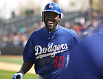 Dodgers' Tony Gwynn Jr. during a Cactus League preseason game between the Dodgers and the A's in Scottsdale, Ariz., on Wednesday, March 7, 2012. The game ended 3-3..Photo by Cathleen Allison