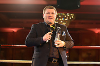 Ricky Hatton with an Icon Award during a Charity Dinner Boxing Show at the Hilton Hotel on 13th November 2017