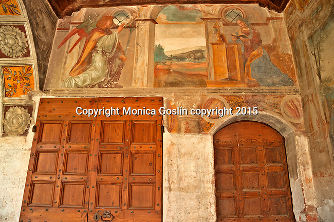 Detail of frescoes in the cloister of the Santa Maria delle Grazie Church built in the 15th century in Gravedona, a town at the northern end of Lake Como, Italy