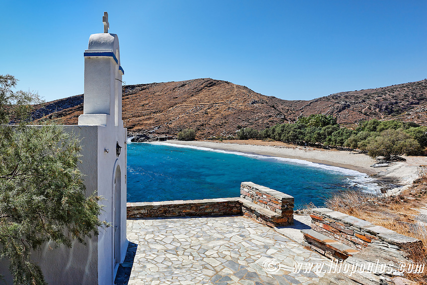Orkos has perfect sandy beach and crystal clear waters in Kea, Greece